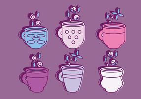 Coleção de copos de chá de vetores