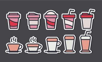 Etiquetas de copos de café do vetor