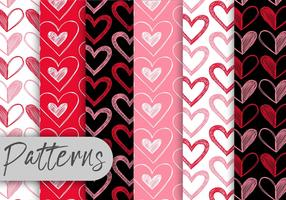 Conjunto de padrões dos corações dos namorados vetor