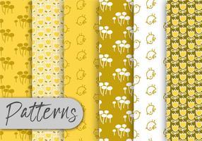 Conjunto de padrões de flora amarela vetor