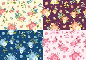 Conjunto de padrão floral Ditsy sem costura vetor