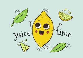 Caráter bonito do limão do fruto que salta com folhas e citações felizes