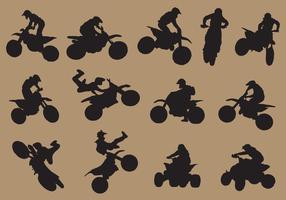 silhuetas desportivas de dirtbike vetor