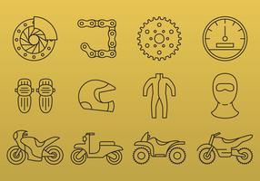 Ícones da linha da motocicleta vetor