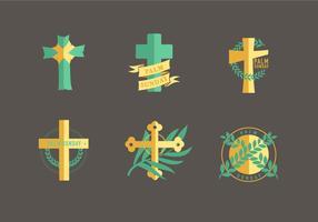 Pacote Vector do Símbolo do Cristianismo do Domingo de Ramos