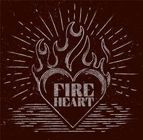 Coração flamejante desenhado mão