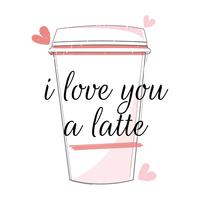eu te amo um latte vetor