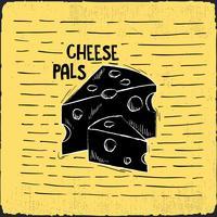 Ilustração desenhada mão do queijo do vetor