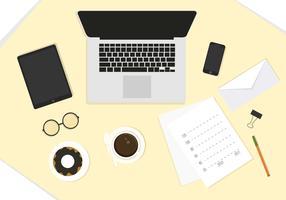 Ilustração de desktop vetorial com elementos de escritório vetor
