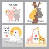 Desenhos engraçados e bonitos do vetor dos cartões de amor