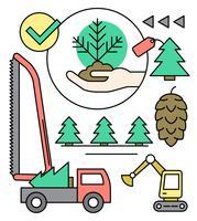 Fazenda Linear Pine Tree vetor