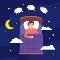 Ilustração das ovelas de salto às horas de dormir vetor