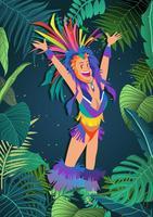 Dançarino do carnaval de rio vetor