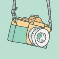 câmera fotográfica hipster em estilo desenhado à mão
