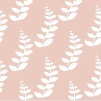 padrão sem emenda de folhas brancas em fundo rosa vetor