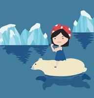 menina montando um urso polar nadando