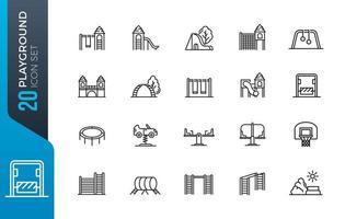 conjunto mínimo de ícones de playground vetor