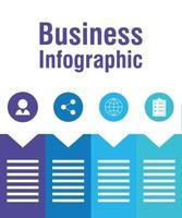 infográfico de negócios com ícones circulares