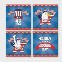 conjunto de banner de celebração do dia da independência dos eua