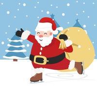 Papai Noel patinando no gelo em uma cena de inverno vetor
