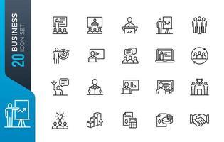 conjunto mínimo de ícones de negócios