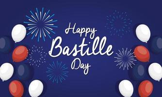 cartão comemorativo do dia da bastilha com balões