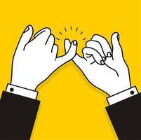 mãos de empresário fazendo uma promessa mindinho