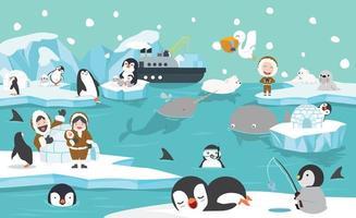 animais árticos e pessoas em um cenário de inverno