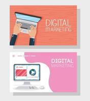 banner de marketing digital com dispositivos elétricos