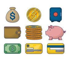 conjunto de ícones de dinheiro e finanças