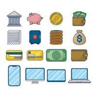 dinheiro e finanças conjunto de ícones de tecnologia