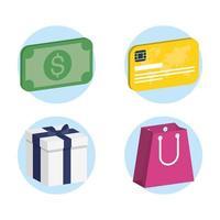 conjunto de ícones isométricos de compras e comércio vetor