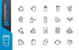 café chá conjunto de ícones vetor