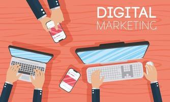 banner de marketing digital com laptop e smartphone