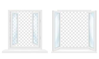 janela de plástico transparente branco com conjunto de peitoril