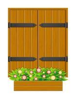 janela de madeira com veneziana fechada e floreira
