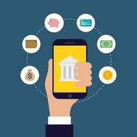 tecnologia de banco online com smartphone