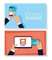 banner de tecnologia de banco on-line com dispositivos eletrônicos