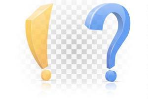 ícone de exclamação e ponto de interrogação definido