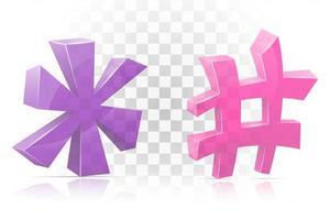conjunto de ícone asterisco e marca hashtag