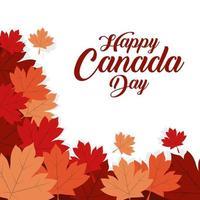 banner de celebração do feliz dia do Canadá com folhas de plátano