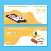 conjunto de banners de compras online e comércio eletrônico
