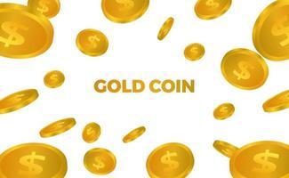 Dinheiro dourado 3D cai caindo vetor