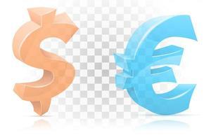 ícone conjunto de símbolos de dólar e euro
