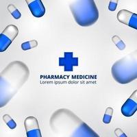 Ingredientes para visualização de dados do infográfico de farmácia, pílula cápsula 3D