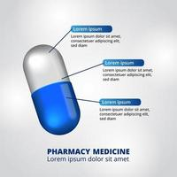 Visualização de dados infográfico de farmácia de comprimidos em cápsulas em 3D