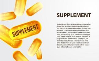 Cápsula de suplemento 3d amarelo ouro para a indústria de saúde