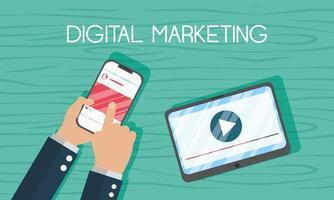banner de marketing digital com smartphone