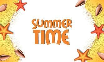 Olá feriado de verão com estrelas do mar e conchas
