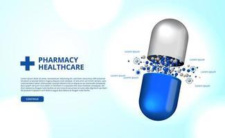 3d farmácia pílulas cápsula medicina saúde vetor